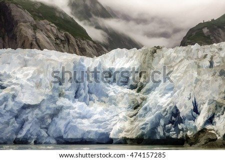 Abstract of middle of the terminus of Sawyer Glacier at the end of Tracy Arm fjord in southeastern Alaska, USA, with digital painting effect