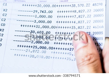 abstract of of saving account passbook. picture financial concept - stock photo