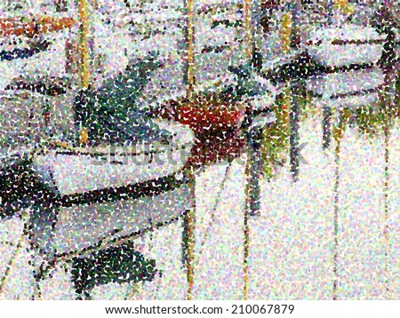 Abstract of pointillized sailboats in marina - stock photo