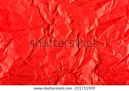 Abstract of red wrinkled paper - stock photo