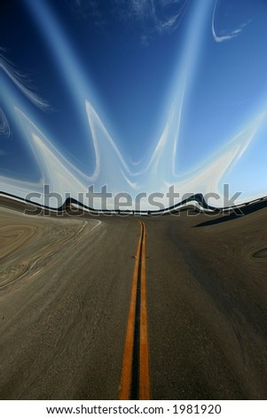 abstract of road to the sky - stock photo