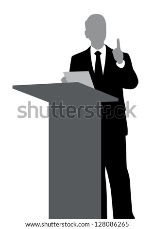 Abstract of speaker with podium. - stock photo