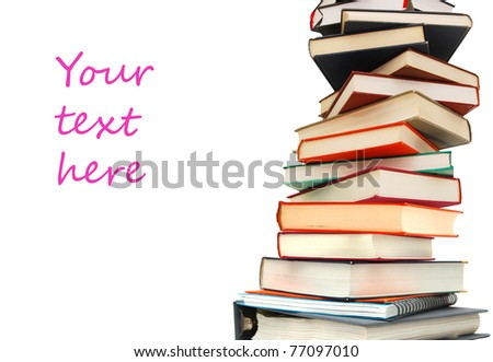Abstract of textbook pile with text - stock photo