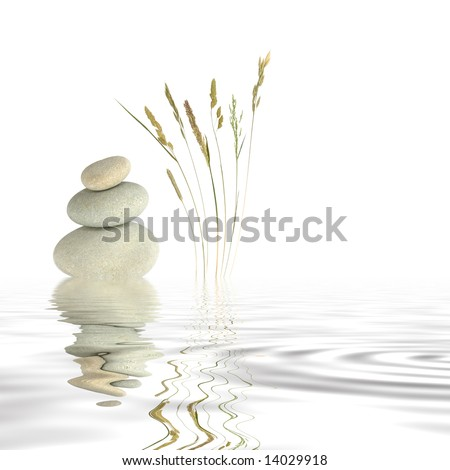 Abstract of three natural grey pebbles balanced on top of each other, with a selection of wild grasses to one side reflected over gray rippled water. Set against a white background. - stock photo