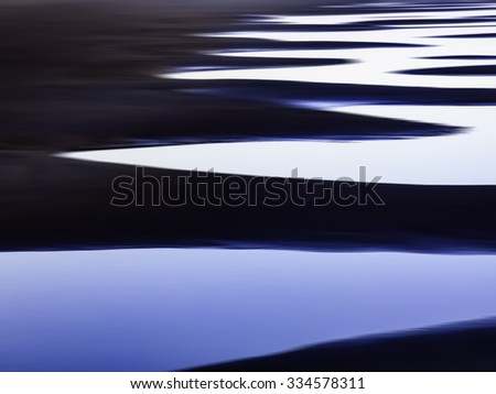Abstract of tidal pools in succession along a sandy beach on the Pacific coast of Olympic Peninsula in Washington, USA, for themes of nature, repetition, serenity, the environment (one of a series) - stock photo