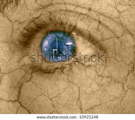 abstract of urban destruction-woman's eye looking at industrial building with dry cracked skin - stock photo
