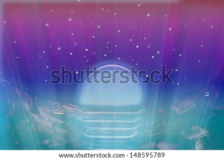 Abstract of water, waves, sky, moon and stars - stock photo