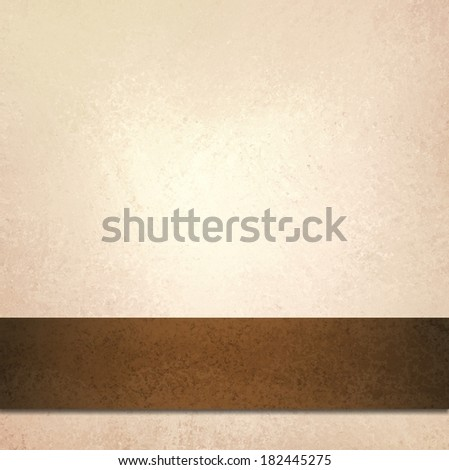 abstract off white background and brown ribbon stripe, beautiful pale gold background with faint luxurious vintage background texture, country western style background with leather ribbon illustration - stock photo