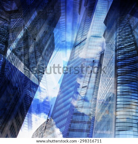 Abstract Office Building Cityscape Background - stock photo