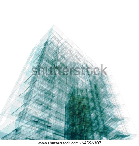 Abstract office building. High resolution 3d render - stock photo