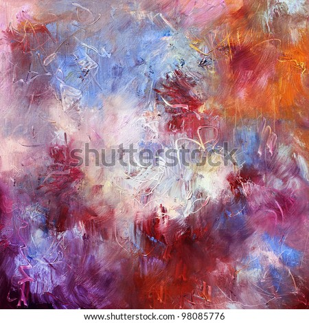 abstract oil paint texture on canvas - stock photo