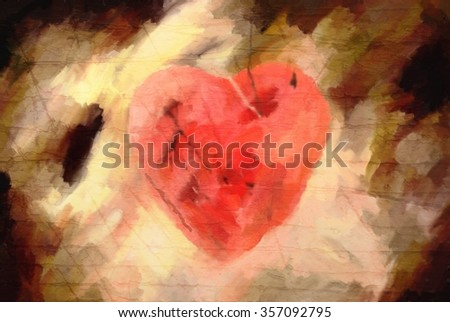 abstract oil paint valentine grunge card with heart on scratched background  - stock photo