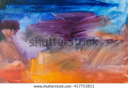 Abstract oil painting background. Oil on canvas texture.  oil painting.Color texture. Fragment of artwork. Brushstrokes of paint. Modern art. Contemporary art. Colorful canvas. Watercolor drips - stock photo