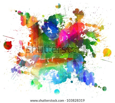 Abstract oil painting. Blot. Blurred spot. Blob. Freehand drawing - stock photo