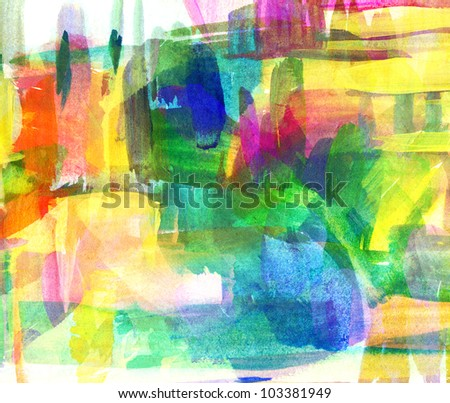 Abstract oil painting. Blurred spot. Freehand drawing - stock photo