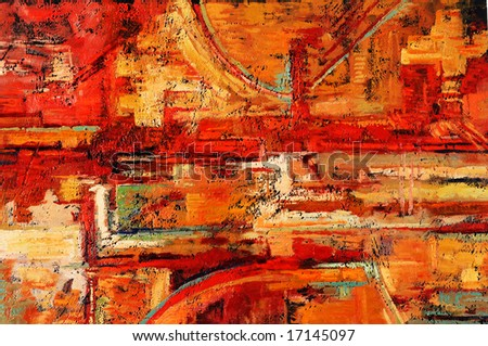 Abstract oil painting in reds and yellows - stock photo