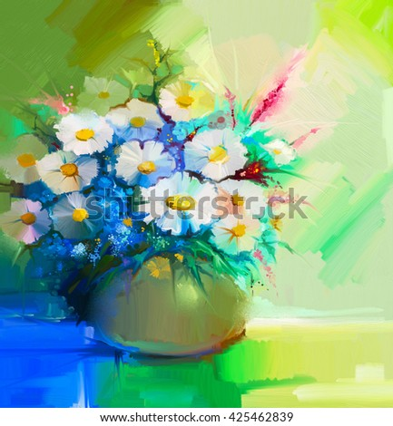 Abstract oil painting of spring flower. Still life of white gerbera, daisies, lilac, wildflowers. Colorful Bouquet flowers in vase. Hand Painted floral modern Impressionist style  - stock photo