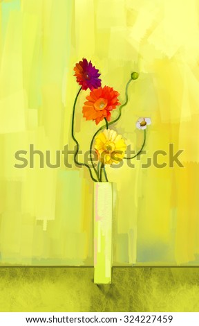 Abstract oil painting of spring flower. Still life of yellow, pink and red gerbera. Bouquet flowers in vase with light yellow-green color background. Hand Painted floral modern Impressionist style - stock photo