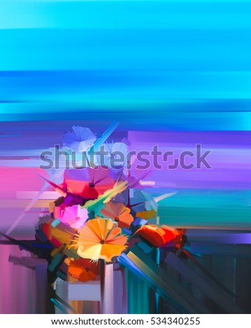 Abstract Oil Painting Spring Flower Still Life Of Yellow Pink Red Gerbera Bouquet