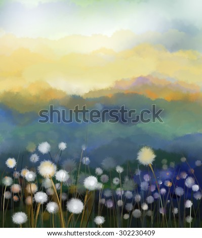 Abstract oil painting white flowers field in soft color. Oil paintings white dandelion flower in the meadows. Spring floral seasonal nature with blue -green hill in background. - stock photo