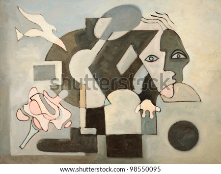 Abstract oil painting with dove; face and geometrical forms - stock photo