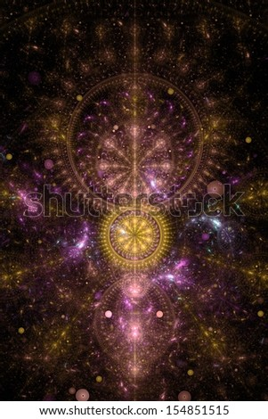 Abstract old alchemic symbol theme, yellow and violet on black - stock photo