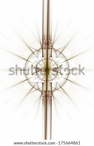 Abstract old alchemic symbols theme, brown and purple over white background - stock photo
