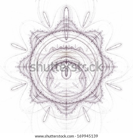 Abstract old alchemic symbols theme, violet over white background - stock photo