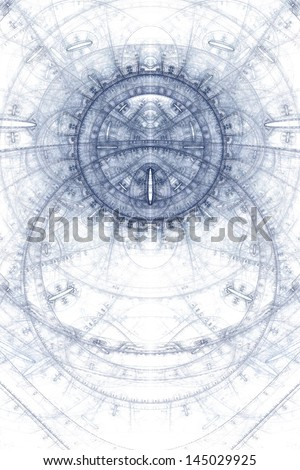 Abstract old alchemical symbols theme, blue on white - stock photo