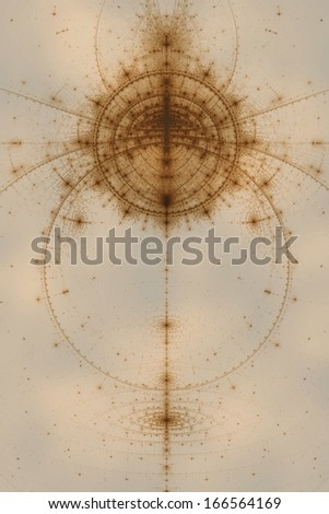 Abstract old alchemical symbols theme, sepia over light cloudy background - stock photo