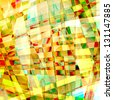 Abstract old chaotic pattern with colorful translucent curved lines - stock photo