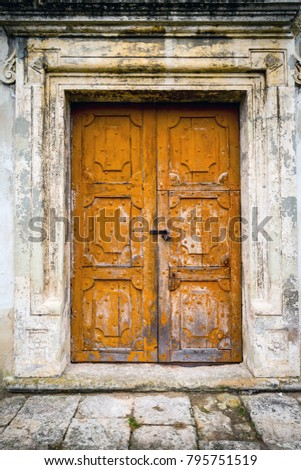 abstract old door in brocken house