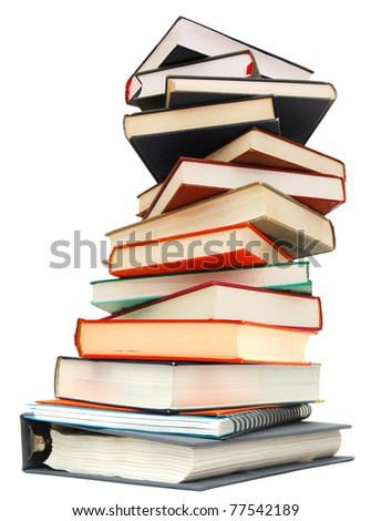 Abstract on learning textbook pile - stock photo