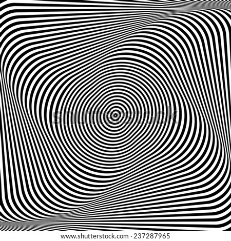 Abstract op art background. Illusion of torsion. Illustration. - stock photo
