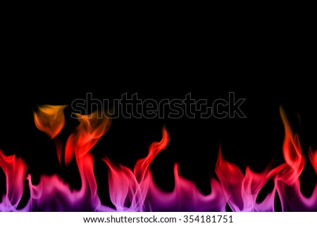 Abstract orange and black fire flames on a black background - stock photo