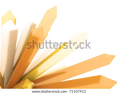 Abstract orange background with crystals on white - stock photo