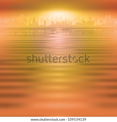 abstract orange background with silhouette of city - stock photo