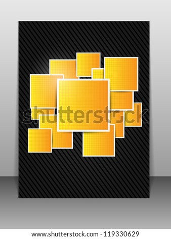 Abstract orange background with square. Illustration.