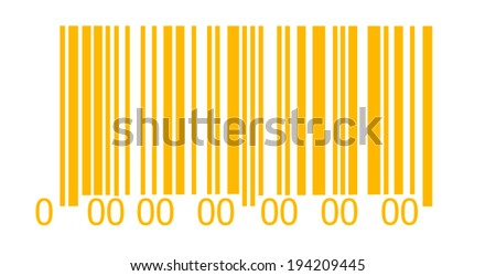 Abstract orange barcode security pattern   on white background - stock photo