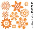 Abstract orange floral ornament collection over white background - stock photo