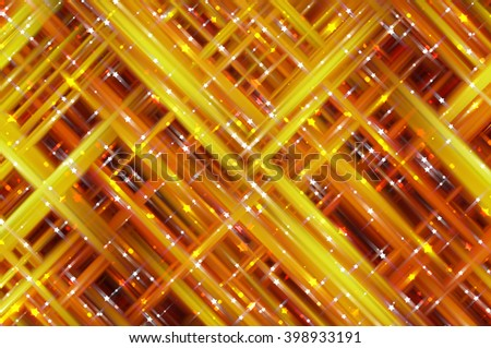 Abstract orange fractal background with various color lines and strips
