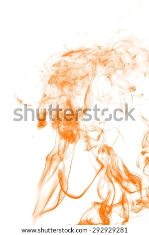 Abstract orange smoke on white background, orange background,orange ink background