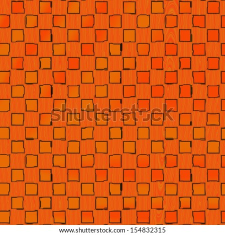 Abstract orange squares on the wood seamless texture