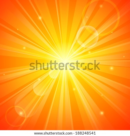 Abstract orange sunny background - stock photo