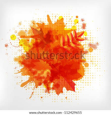 Abstract Orange With Blobs Autumn Leafs, Isolated On White Background