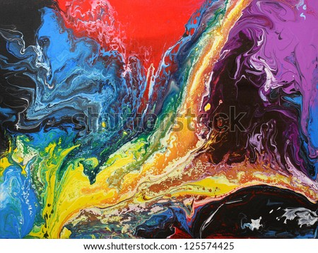 Abstract original painting on canvas. - stock photo