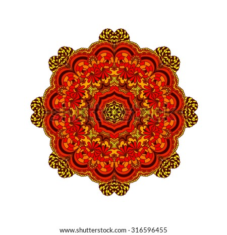 Abstract ornament in circle with indian motifs. Lacy mandala. Decorative card. Round ornament pattern. Ethnic floral circle ornament. - stock photo