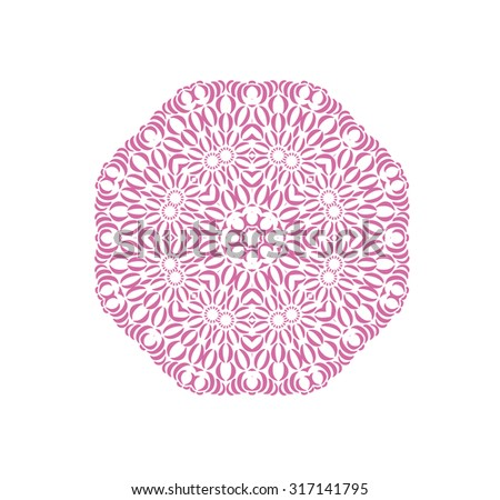 Abstract ornament in circle with indian motifs. Lacy mandala. Decorative card with ornament. Round ornament pattern. Ethnic floral circle ornament. - stock photo