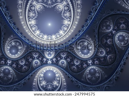 Abstract ornate blue background. Luxury winter pattern. Beautiful decoration for wallpaper desktop, cover booklet, flyer, greeting card, album, invitation for holiday. Digital artwork. Fractal art - stock photo