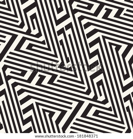 Abstract ornate striped textured geometric seamless pattern.